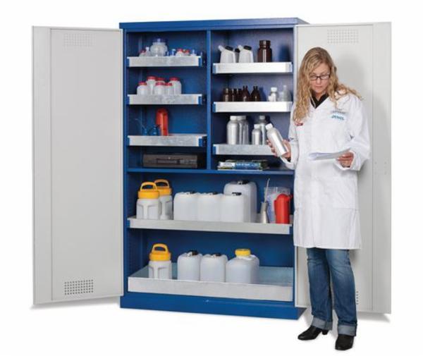 Kemikalieskab Smart, med fløjdøre, inkl. bundkar og 6 opsamlingskar, type CS 126