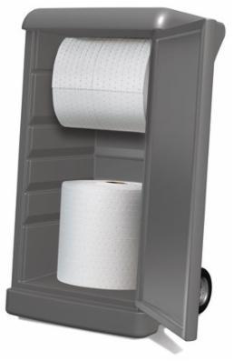 Dispenservogn, robuste hvide celluloseklude på rulle, 4-lags