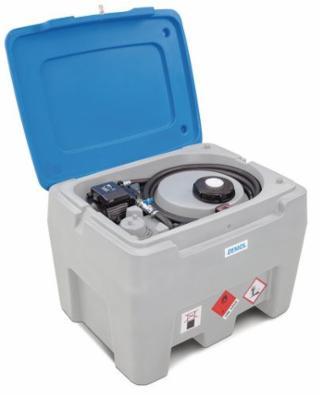 Mobil diesel tankanlæg 250 af polyethylen, 12V-pumpe, grå/blå, 250 liters, med gennemløbstæller
