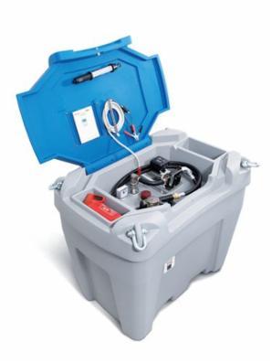Mobil diesel tankanlæg 450 af polyethylen, 12V-pumpe, grå/blå, 450 liters, med gennemløbstæller