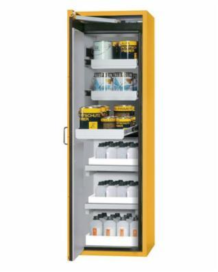 Brandsikkert farligt-gods skab Edition med udtræk, karhylder og bundkar, gul, type 600-32A