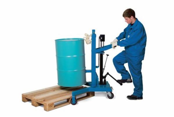 Tromleløfter LD af stål, lakeret, retvinklet understel, til 200 liters ståltromler