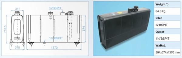 Bagmonteret olietank til f.eks hydraulik anlæg