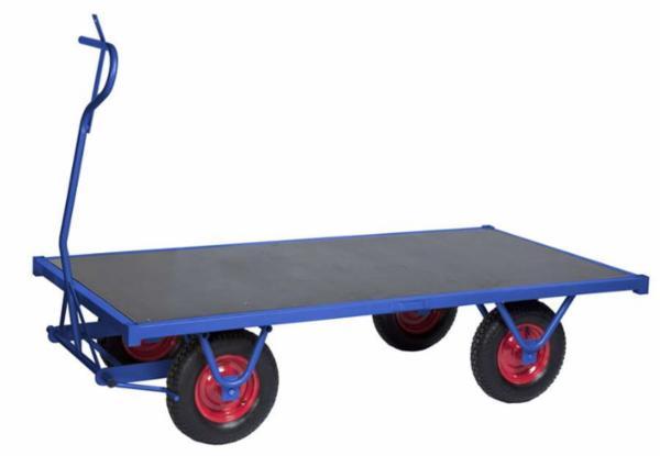 Trækvogn med bremse. Lad 1500x700mm. blå