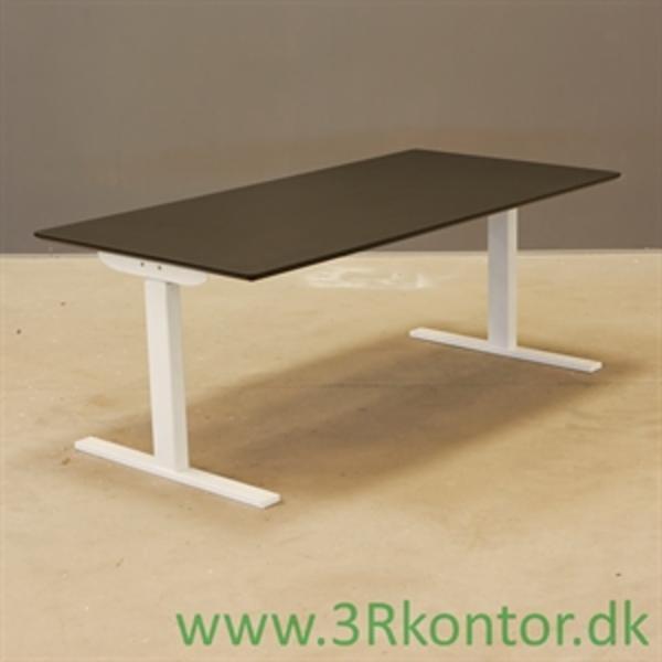 El hæve sænke bord. Sort linoleum, hvid Square stel 160x80 - NYT