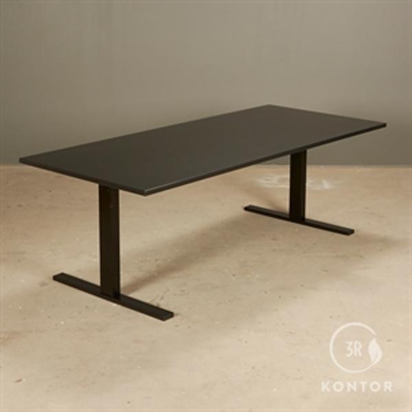 Hæve sænkebord, sort plade, Sort Square stel - 180x80 - NYT