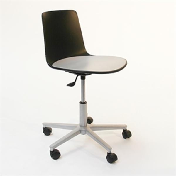 Kontorstol. Enea Design. Lotus Chair. Sort og grå med stål fod.
