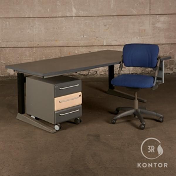 3R Kontor komplet arbejdsplads. Blå/Grå - Højre bue.