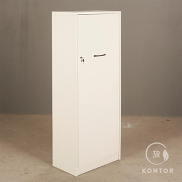 Kontorskab. Hvid med 1 stor låge og lås.