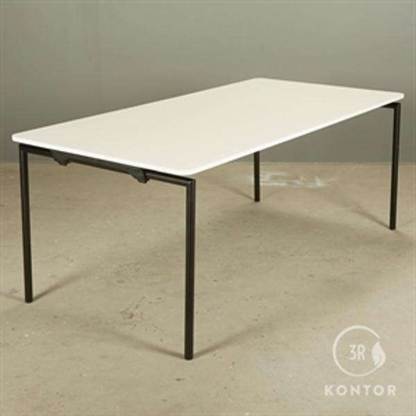 Fredericia easy foldebord. hvid top, sorte ben, 180x90