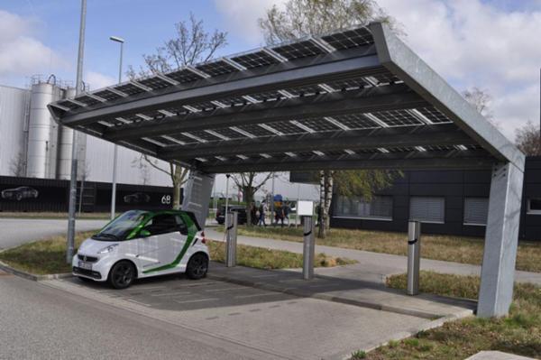 Solcelleanlæg til parkeringsareal fra Bluetop Solar Parking