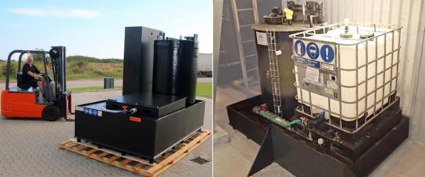 IBC lagerenheder fra IWAKI sikrer og forenkler håndteringen af palletanke.