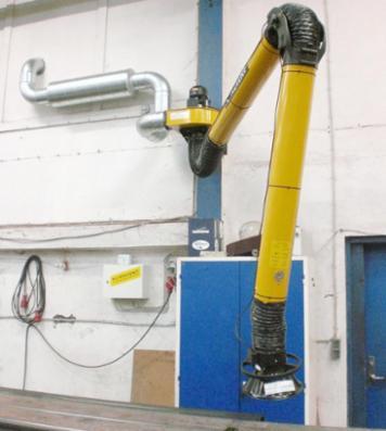 Dansk Procesventilation tilbyder Plymovents Ø160mm-sugearm KUA til små og mellemstore arbejdsområder