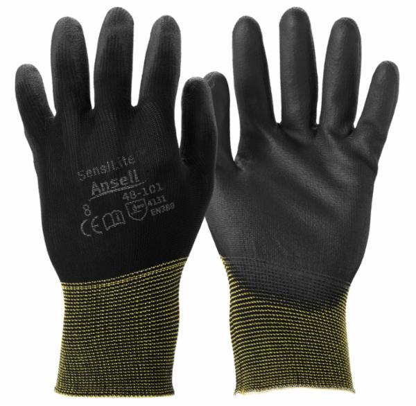 Sensilite handske, PU, Sort